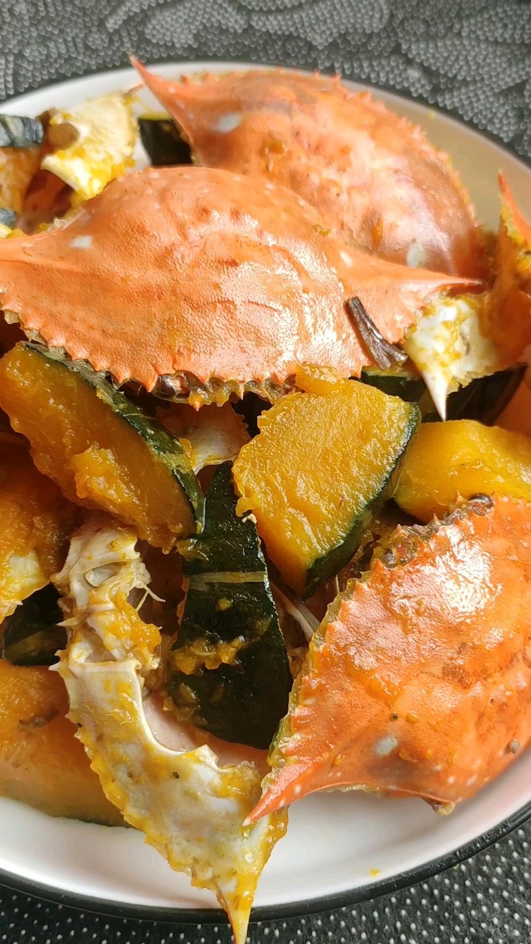 鲜味浓郁的蟹壳炖南瓜