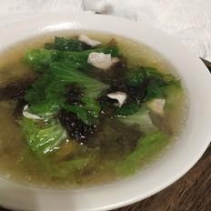 生菜紫菜肉片汤