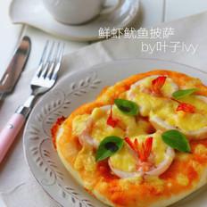 面包机版鲜虾鱿鱼披萨