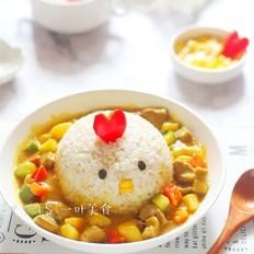 小鸡咖喱猪扒鲜蔬饭