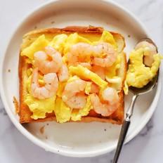 脆嫩鲜香,虾仁炒鸡蛋三明治的做法