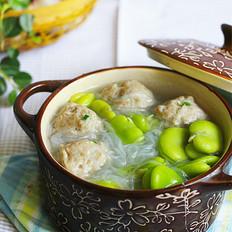 蚕豆米粉丝肉丸汤