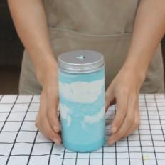 小兔奔跑奶茶教程:韓國網紅奶茶藍天白云的做法