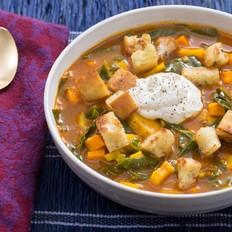 轻食·温暖红薯防风根面包丁汤