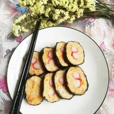煎手工海鲜紫菜肉卷的做法
