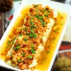 剁椒虾仁蒸豆腐
