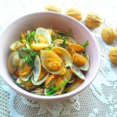 香菜爆花蛤
