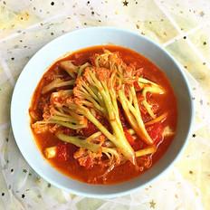 西红柿焖有机花菜