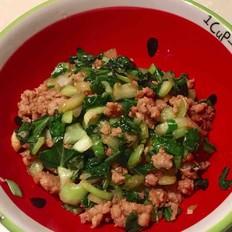 肉末炒油菜