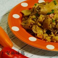 杏鲍菇鸡腿焖饭的做法