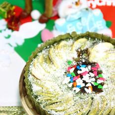 圣诞风抹茶椰蓉苹果派
