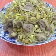 黄豆芽炒肉丁