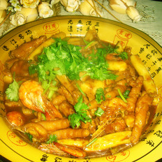 明虾鸡脚煲