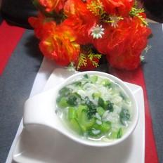 青菜虾皮粥