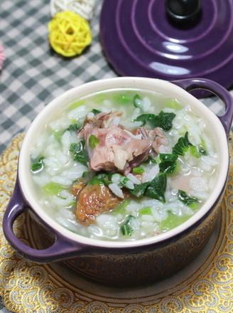 鸭骨青菜粥的做法