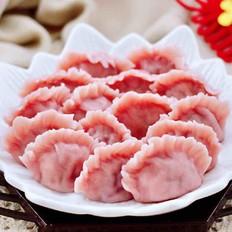 手工红椰菜扇贝饺子