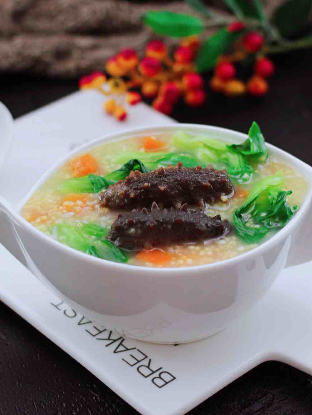 海参时蔬小米粥