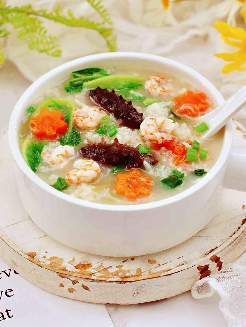 鲜虾海参砂锅粥