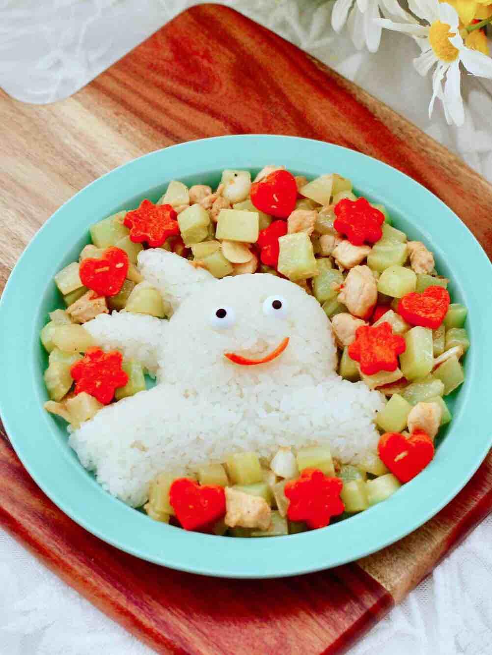 鸡丁莴苣盖浇饭