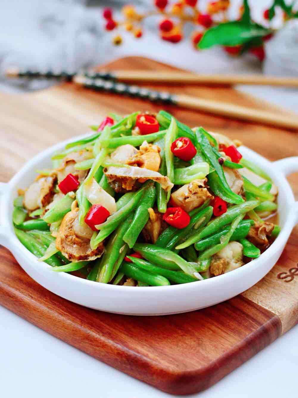 四季豆炒扇贝肉的做法