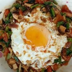 香菇鸡蛋盖浇饭