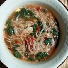 油菜西红柿酱挂面汤