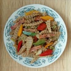 火腿白菜炒莜面