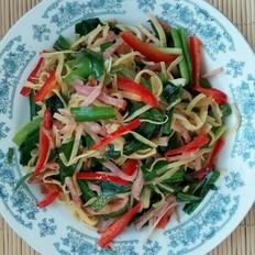 火腿炒豆皮韭菜