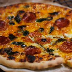 萨拉米薄底披萨