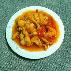 番茄菜花炒肉丝