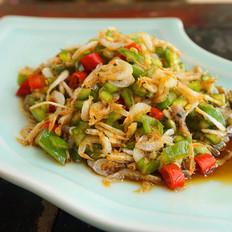 凉拌虾米青椒丁的做法