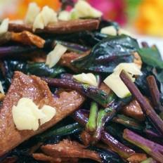 紫背天葵滑炒猪肝