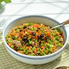 肉末炒芦笋胡萝卜