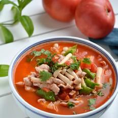 番茄蘑菇肉片汤