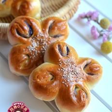 蓝莓山药花朵面包