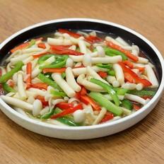 青红椒炒白玉菇的做法