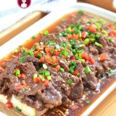 蒸牛肉豆腐金针菇