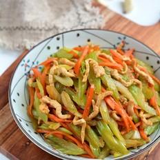 爽脆鲜嫩下饭的肉丝炒芹菜胡萝卜