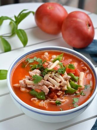番茄蘑菇肉片汤的做法