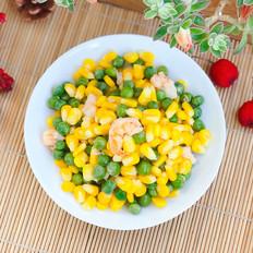 玉米豌豆炒虾仁的做法