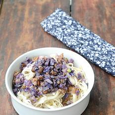 紫甘蓝榨菜肉末拌面
