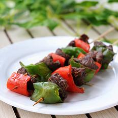 青红椒牛肉烤串
