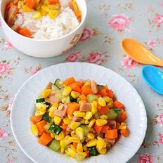 午餐肉炒蔬菜粒