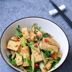 白菜苔炒冻豆腐