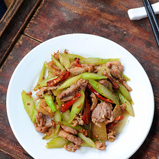 白菜苔炒肉片