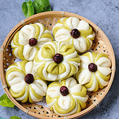 菠菜红枣双色花卷