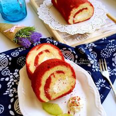 红丝绒渐变蛋糕卷