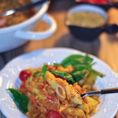 香草意大利面+紫边生菜芝麻菜沙拉的做法