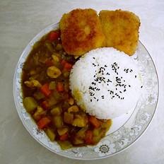 咖喱鱼排饭