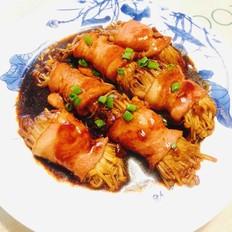 酱烧培根金针菇卷